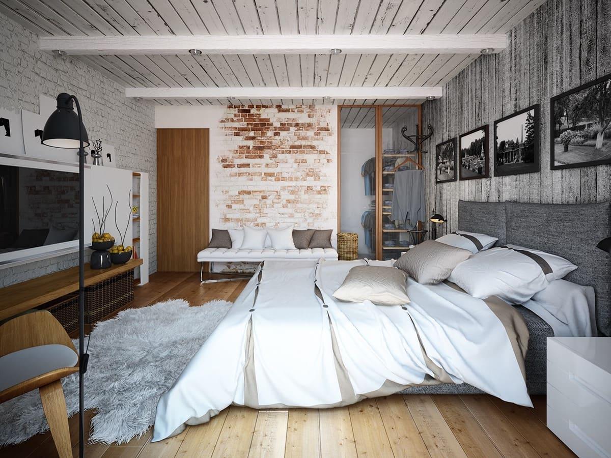 La décoration de style loft ne doit pas être trop importante, un lampadaire et quelques tableaux au mur suffisent.