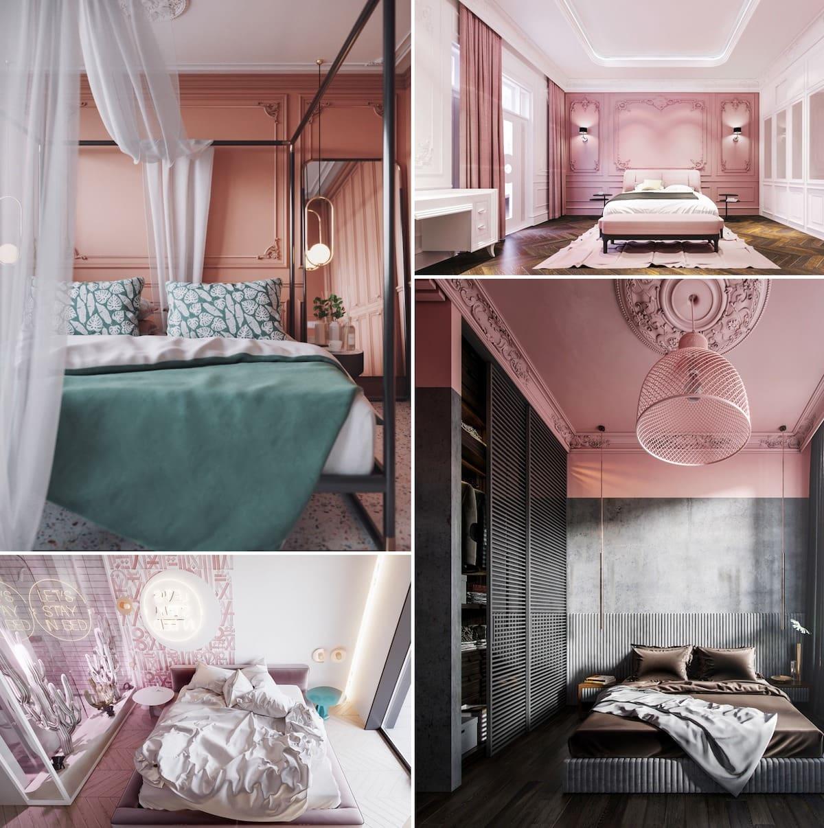 Les belles chambres à coucher en rose sont la tendance de cette année