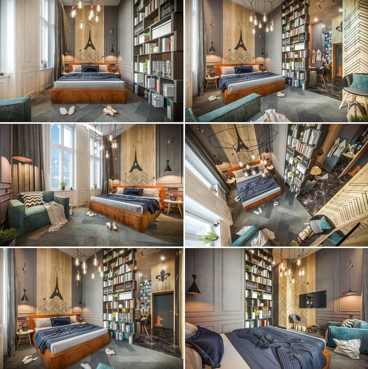 Chambre à coucher aux couleurs vives et aux allures de maison française
