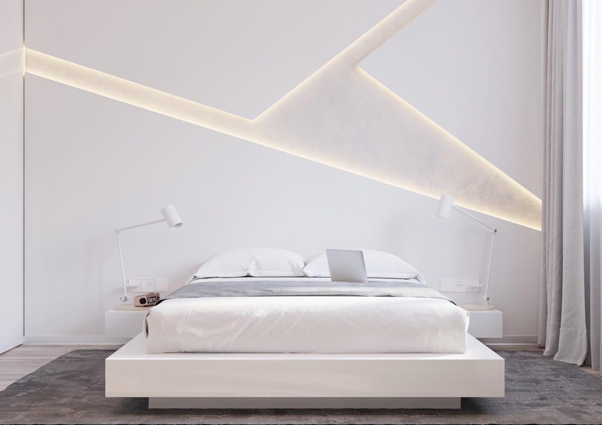 La couleur blanche des murs permet d'augmenter visuellement l'espace d'une pièce.
