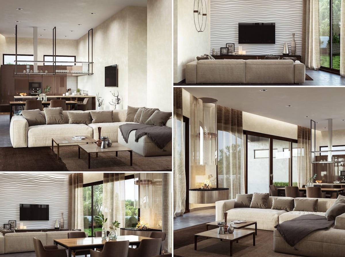 Design de salle de séjour à la mode photo 19