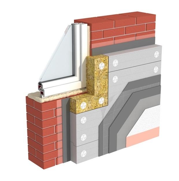 Système d'isolation de façade avec finition avec des compositions de plâtre.