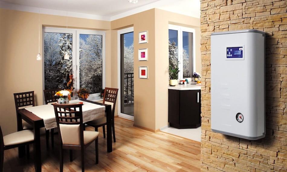 Exemple de placement d'une chaudière électrique dans une cuisine-salon