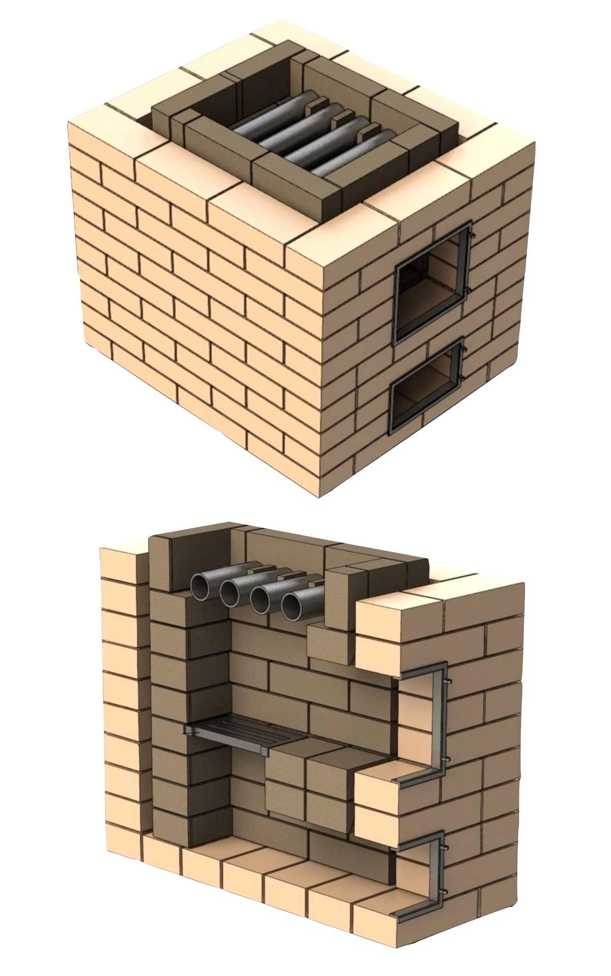 Poêle à bain de briques en coupe (schéma)