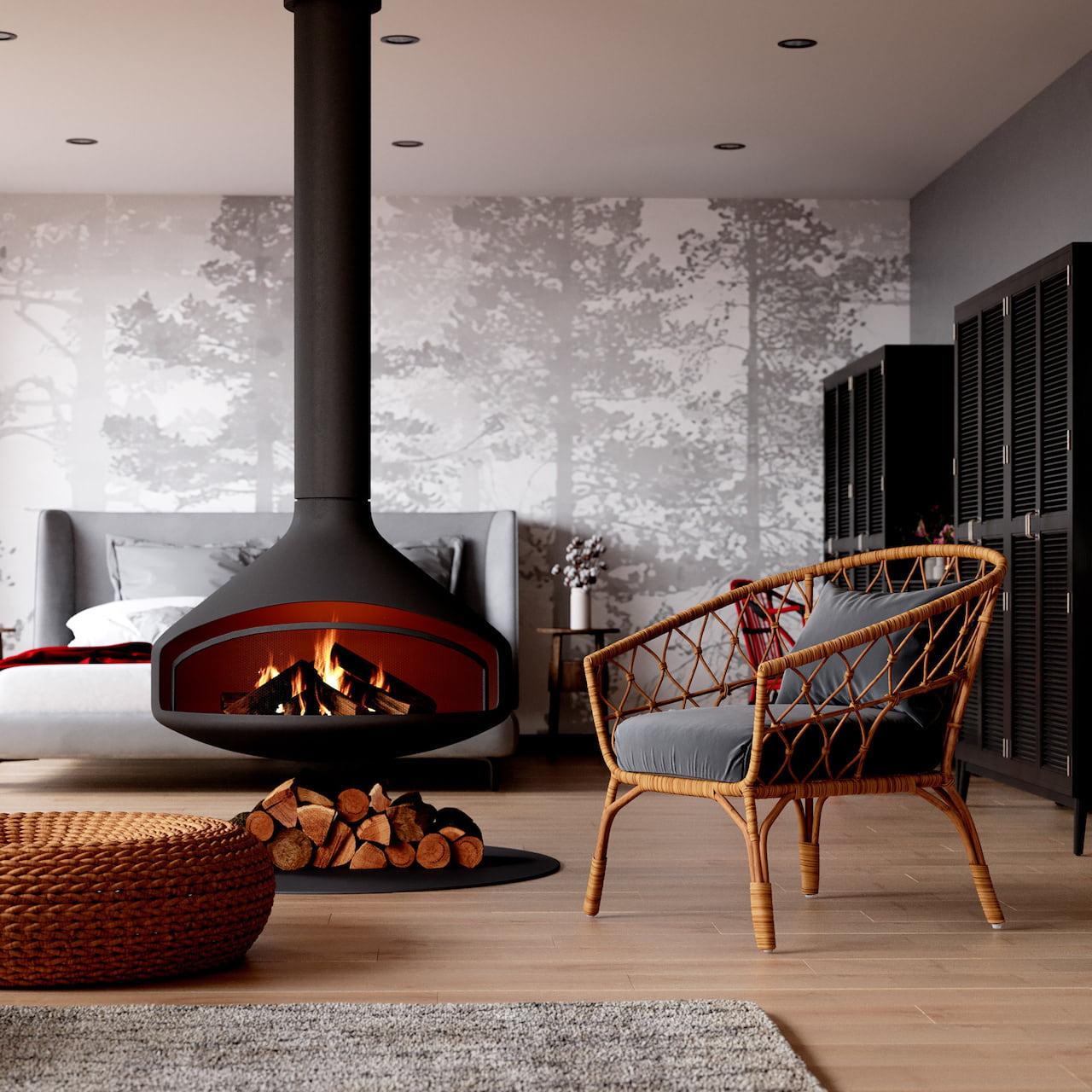 cheminée dans le salon intérieur photo 1