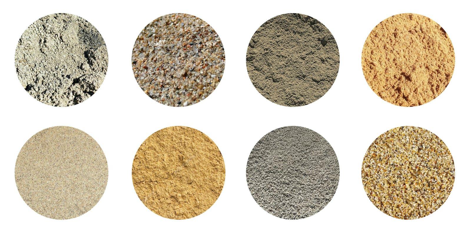 Песок с различной фракцией частиц