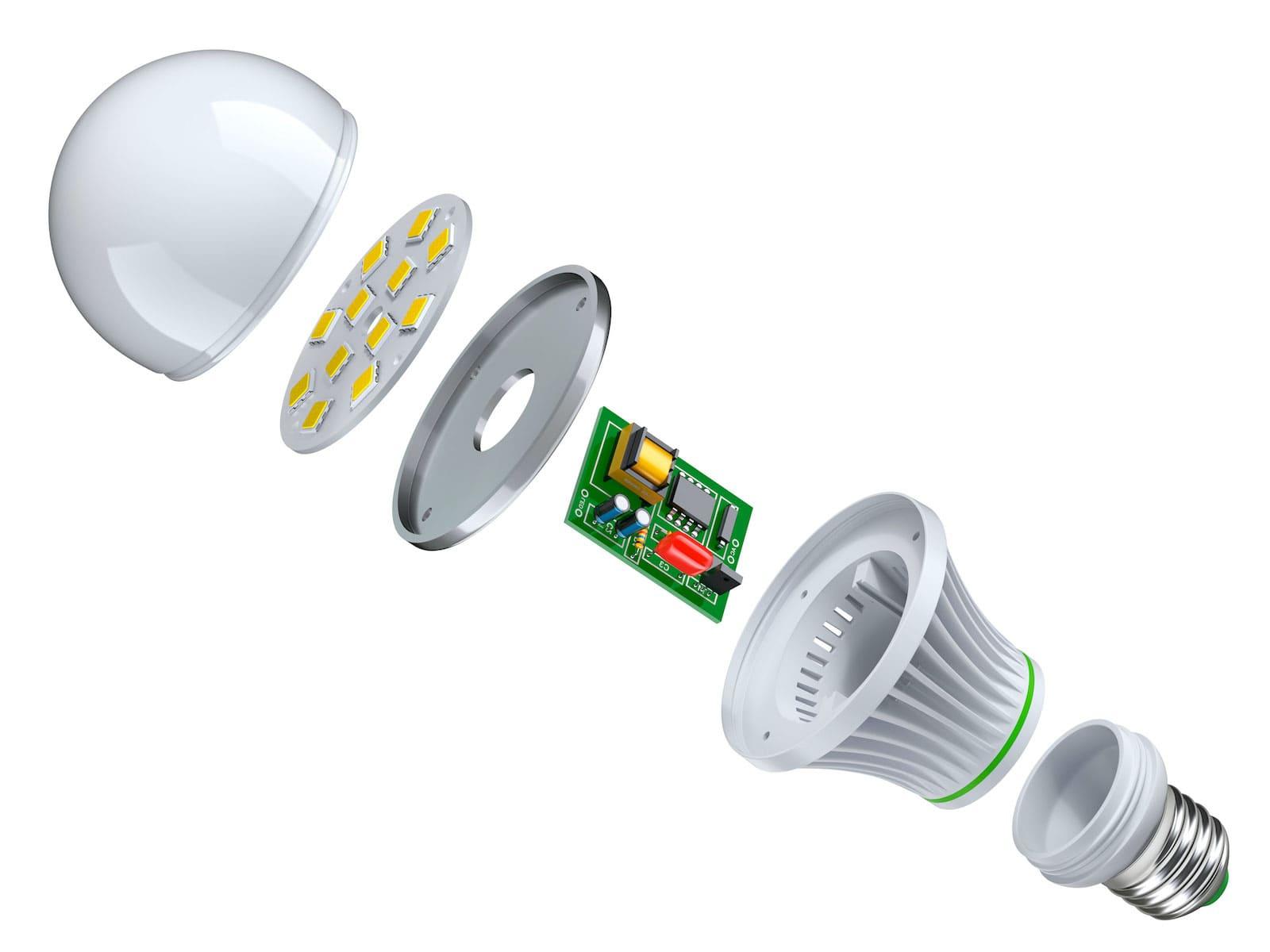 L'image montre de quoi est composée une ampoule à LED.