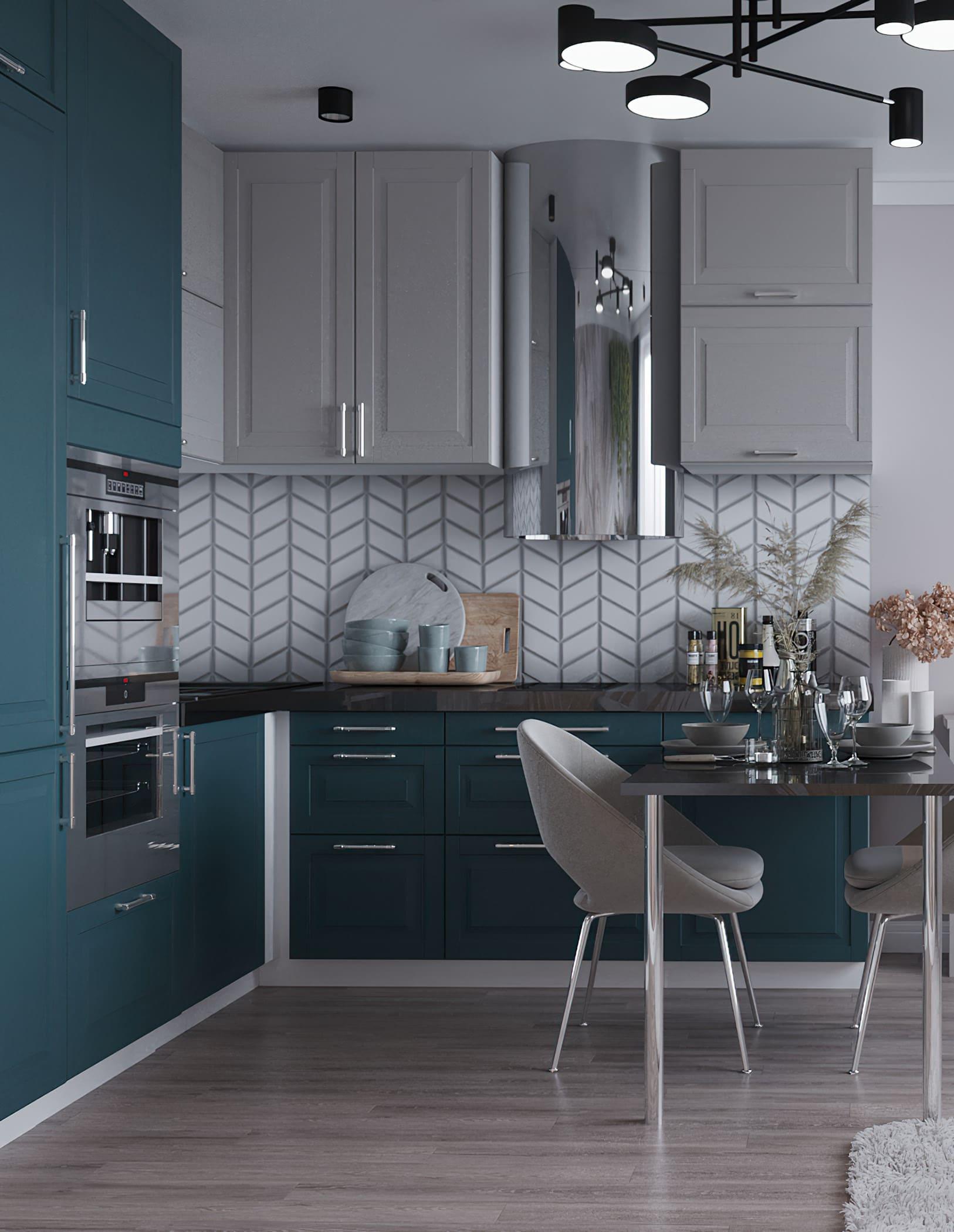 La hotte aspirante en acier chromé s'inscrit dans les tendances modernes de la décoration intérieure.