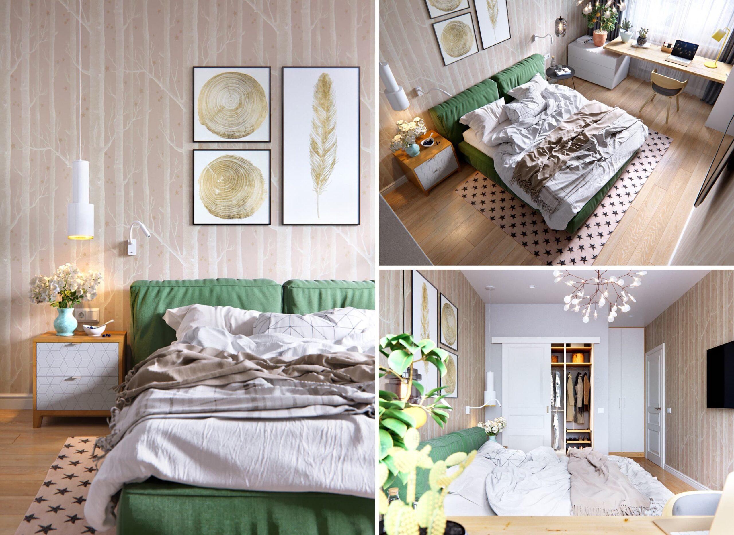 Intérieur de chambre à coucher à la mode photo 18
