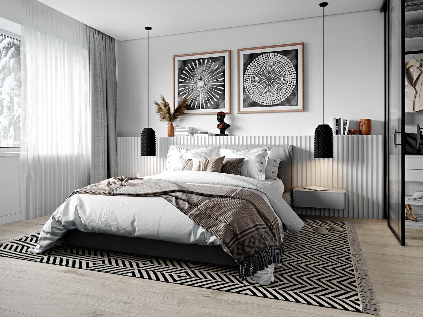 Intérieur de chambre à coucher à la mode, photo 47