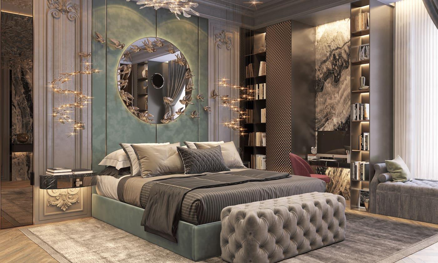 Intérieur de chambre à coucher à la mode photo 48