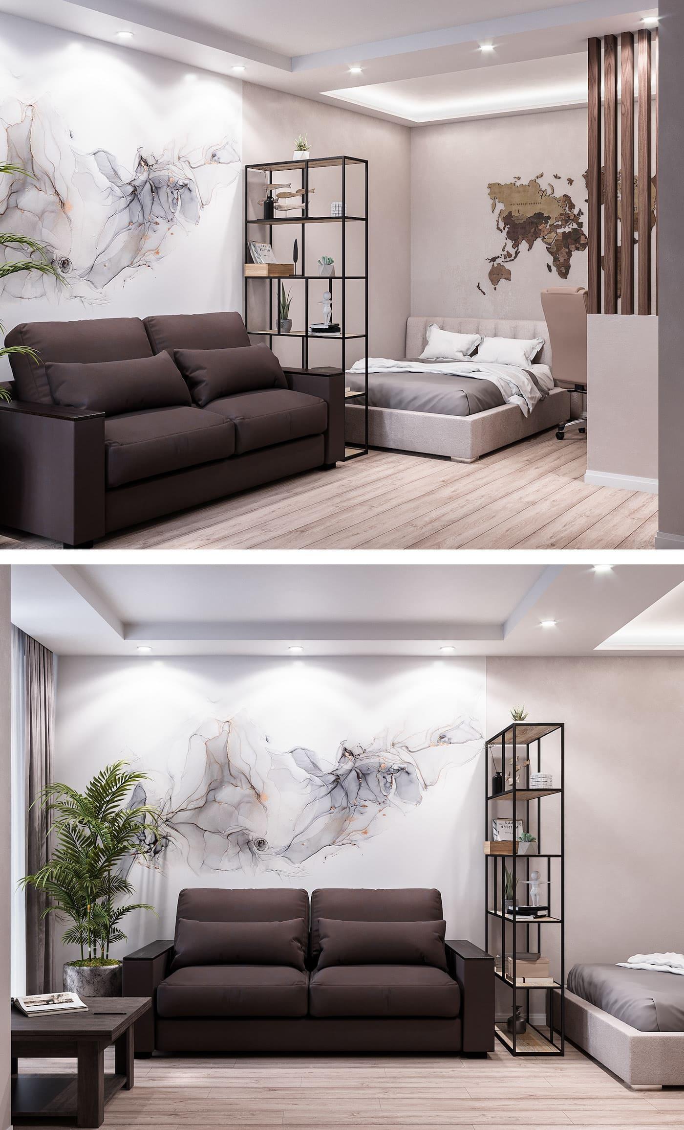 Conception d'un appartement à une chambre à coucher photo 22