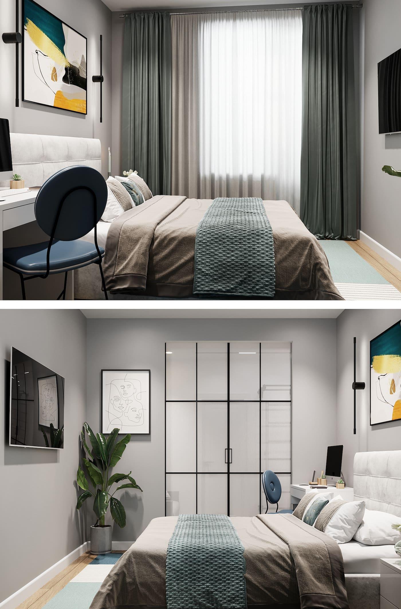 Conception d'un appartement à une chambre photo 23