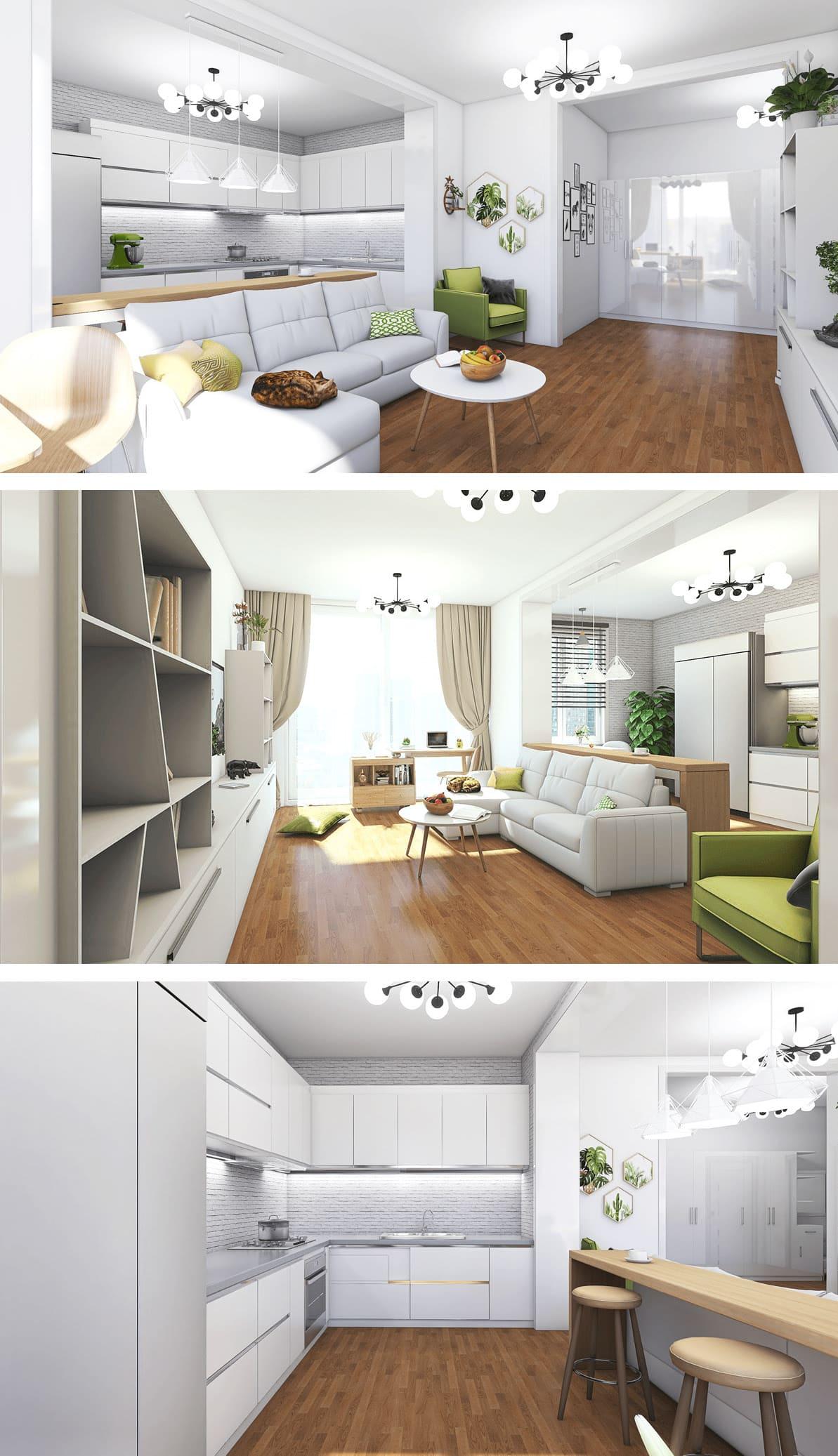 Conception d'un appartement à une chambre photo 25