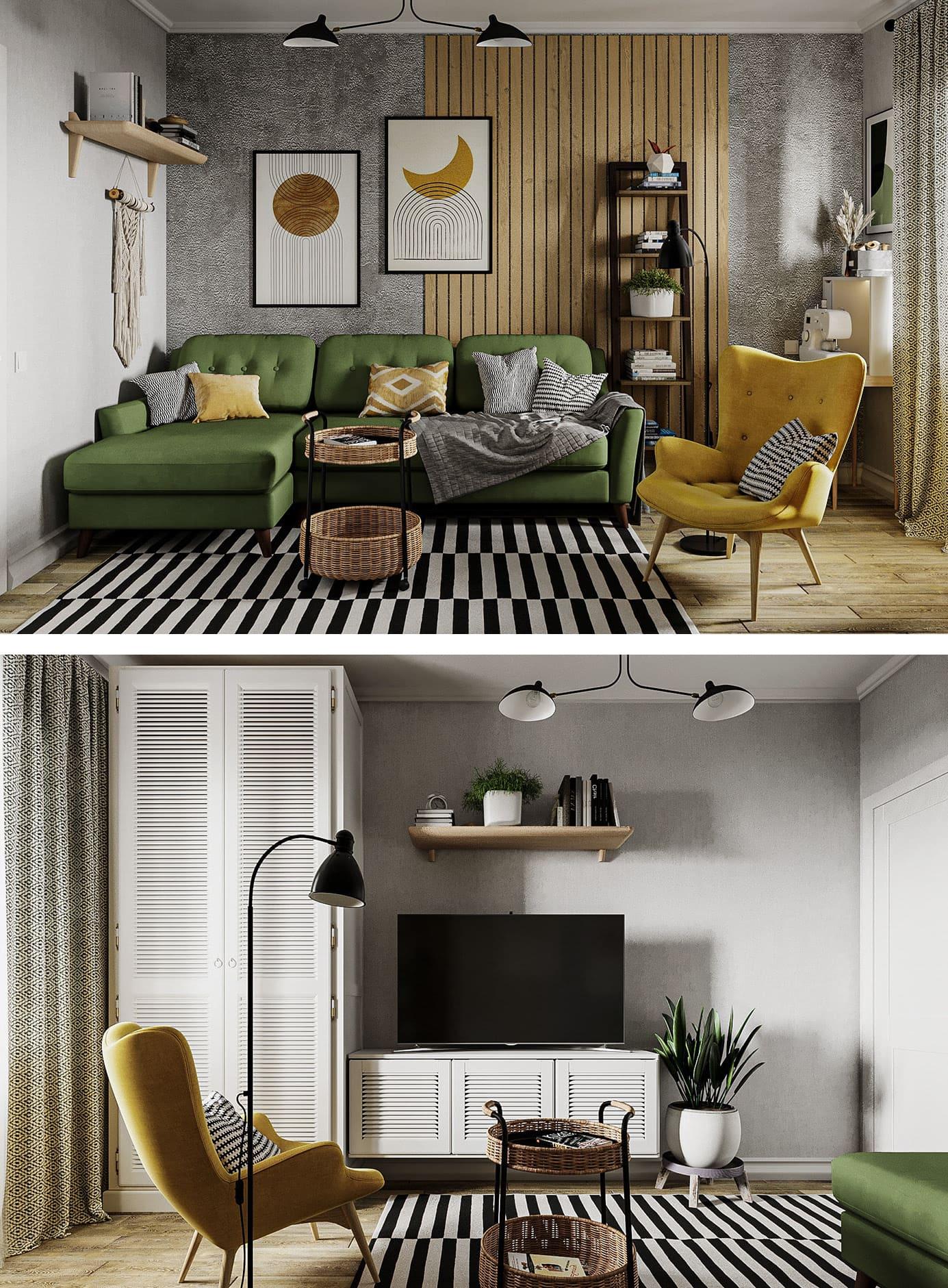 Conception d'un appartement à une chambre photo 43