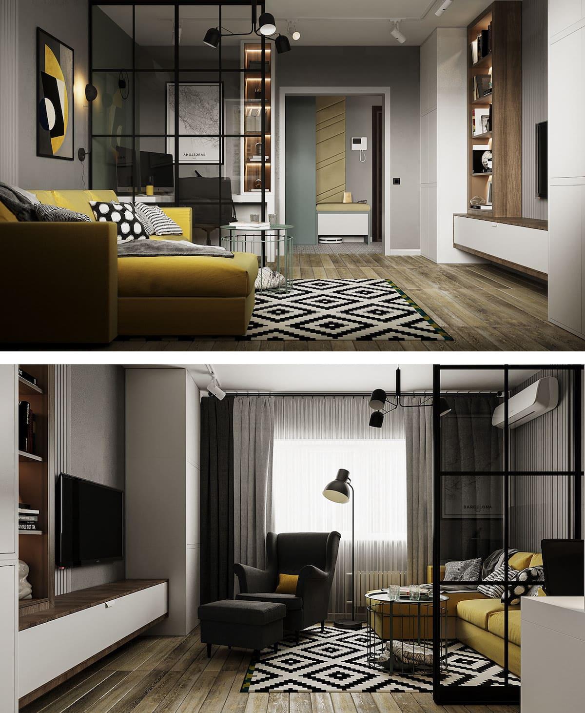 Conception d'un appartement à une chambre photo 54