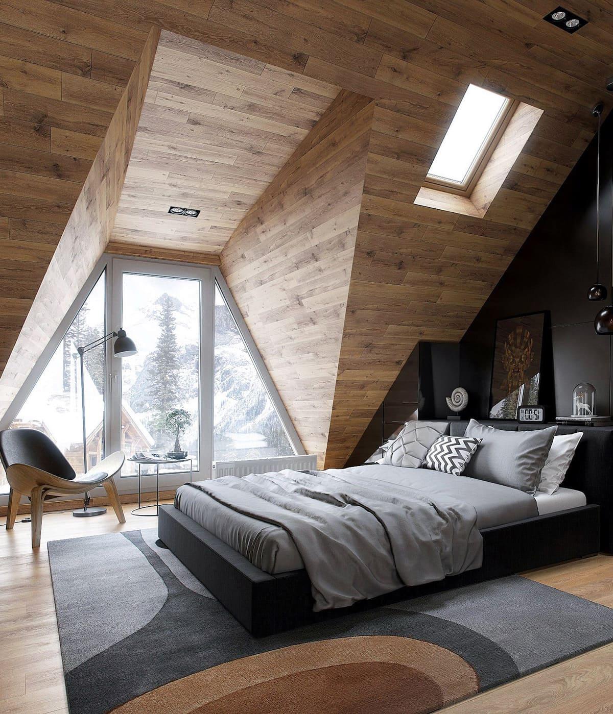 спальня на мансардном этаже фото 2