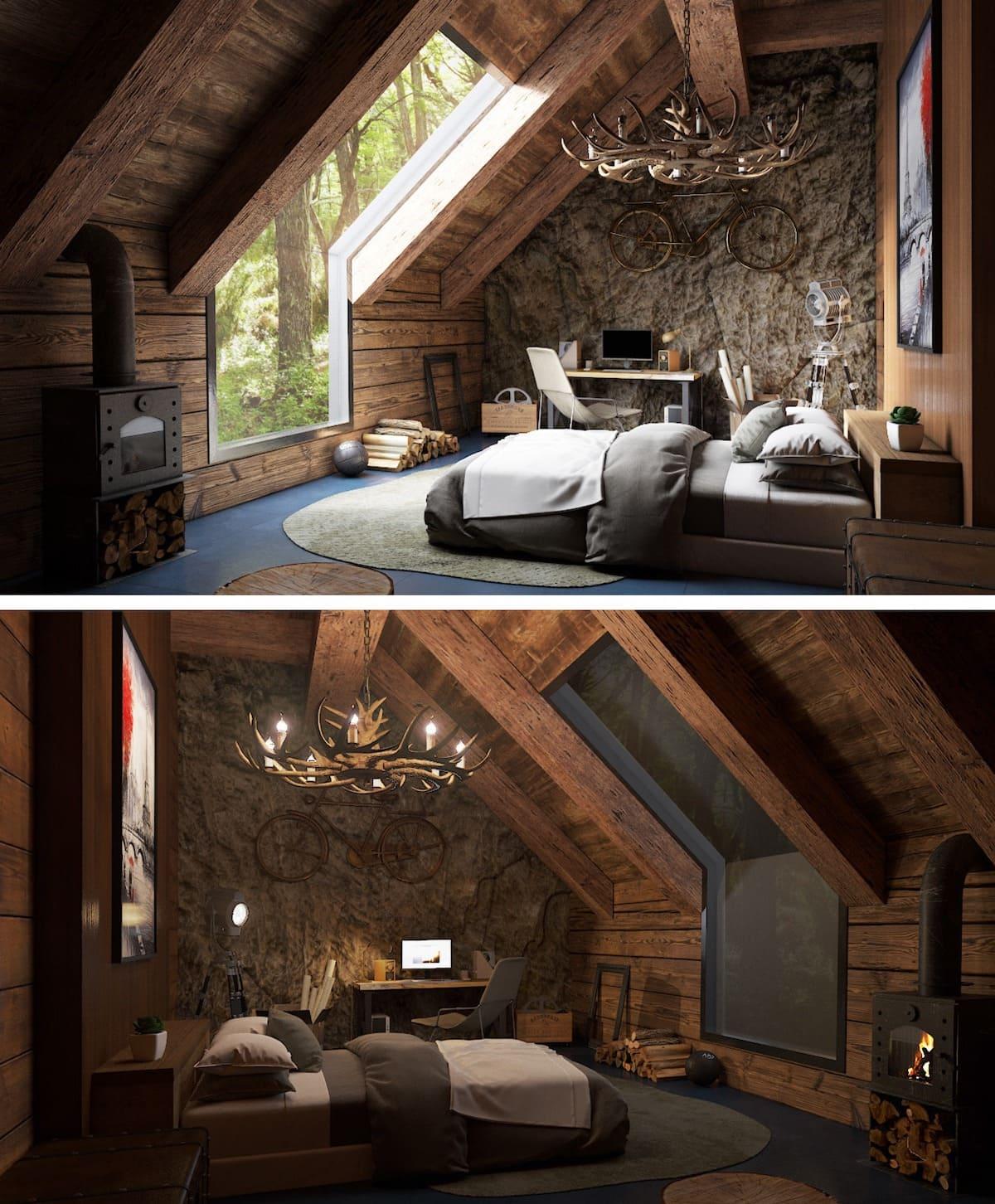 спальня на мансардном этаже фото 29