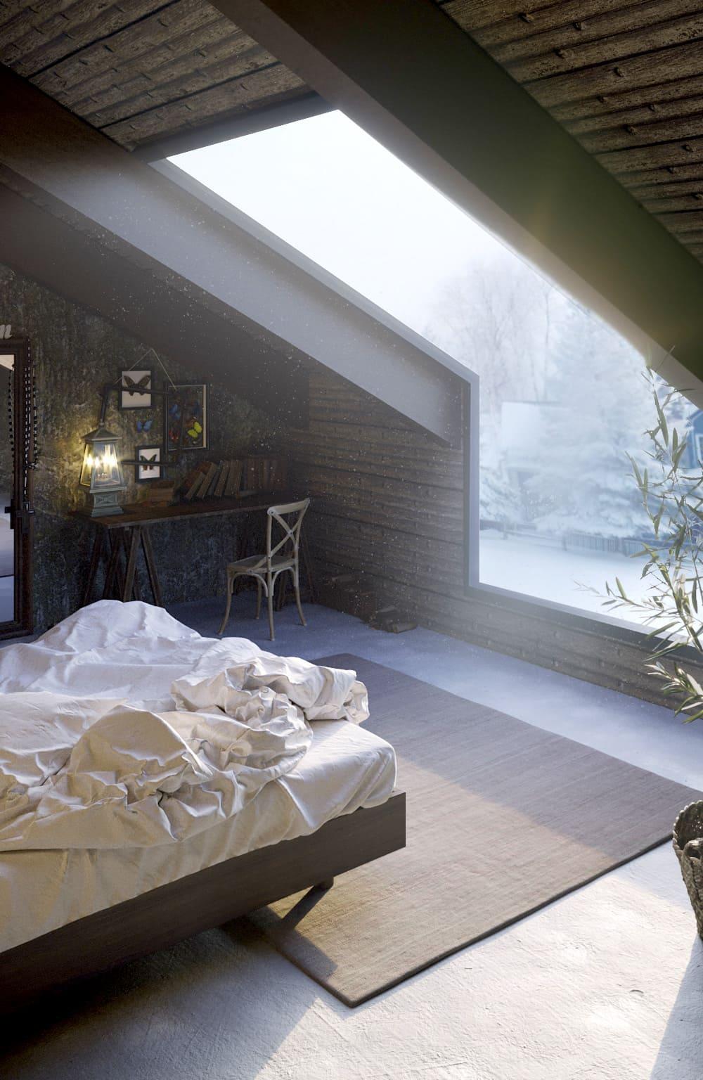 спальня на мансардном этаже фото 37