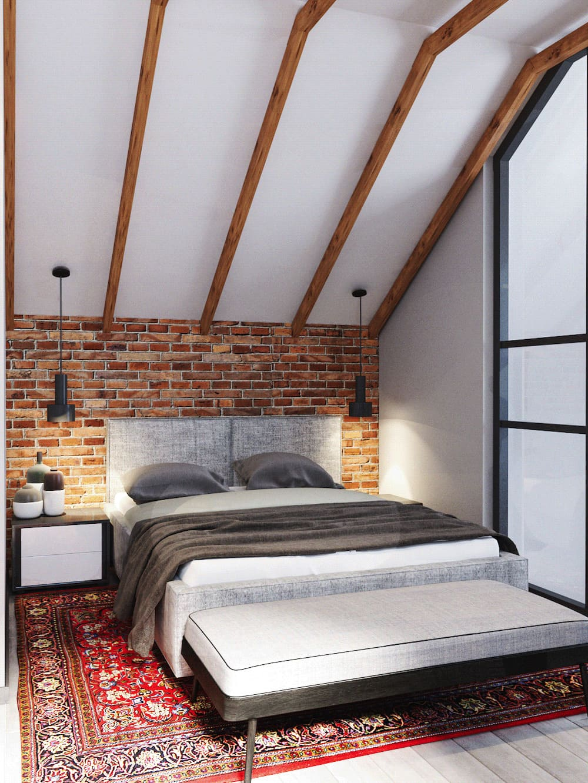 спальня на мансардном этаже фото 39