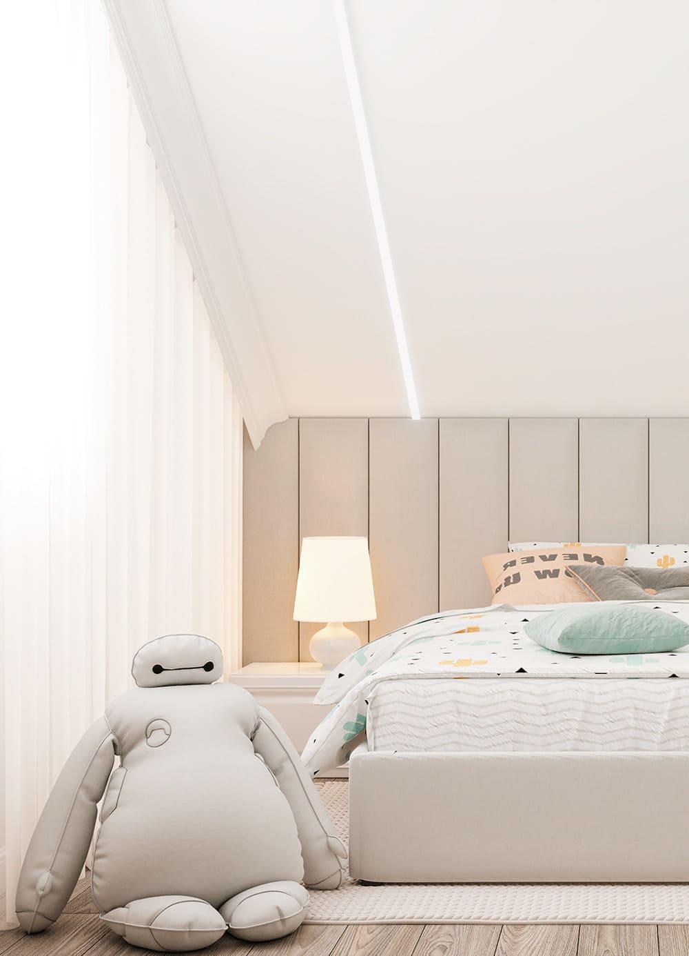 спальня на мансардном этаже фото 17