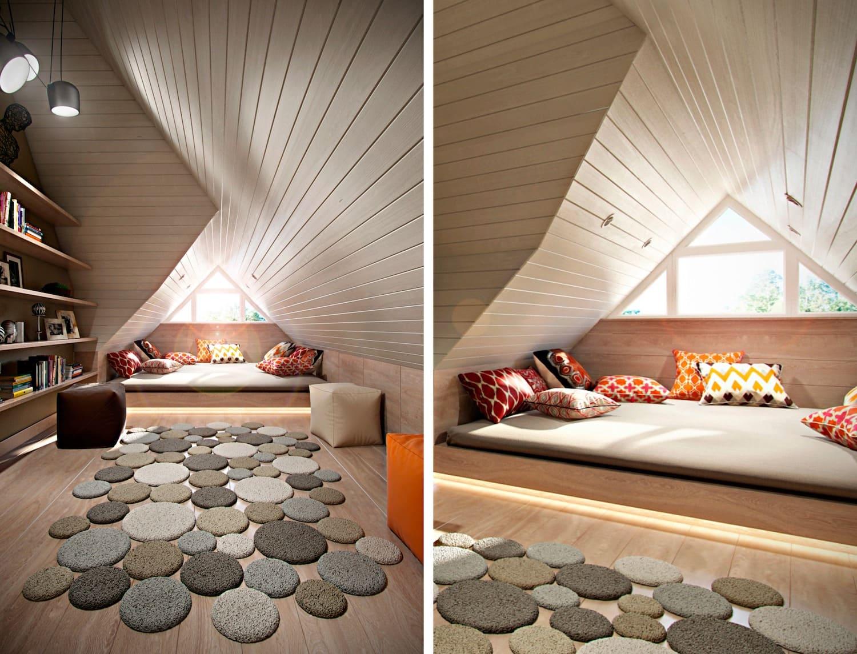 спальня на мансардном этаже фото 22