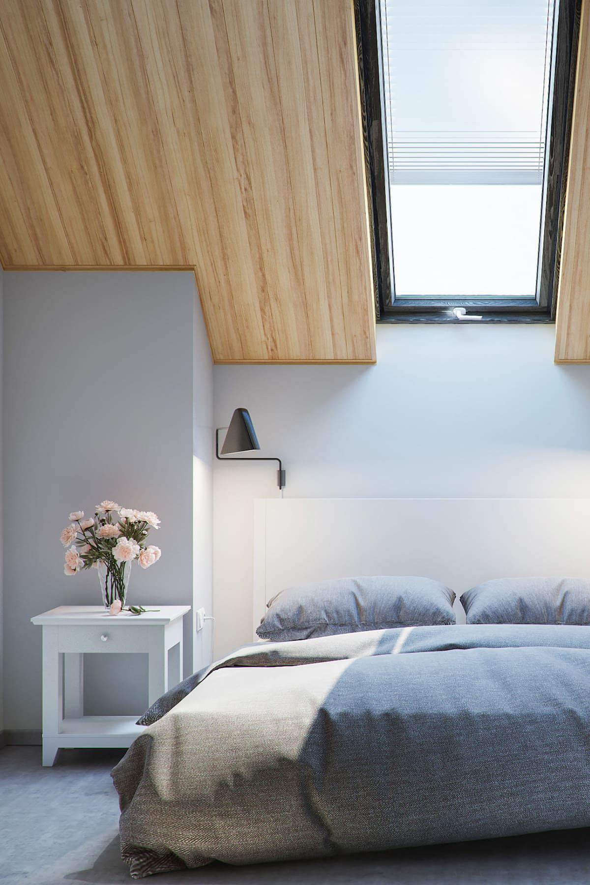 спальня на мансардном этаже фото 24