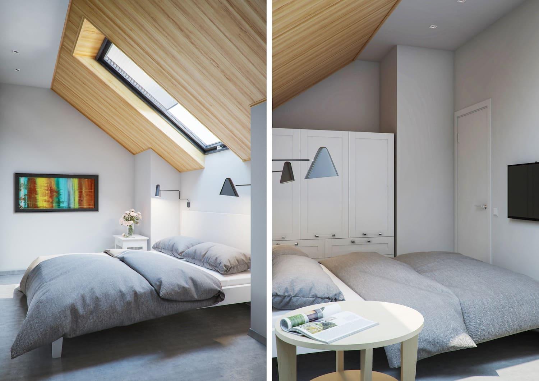 спальня на мансардном этаже фото 25