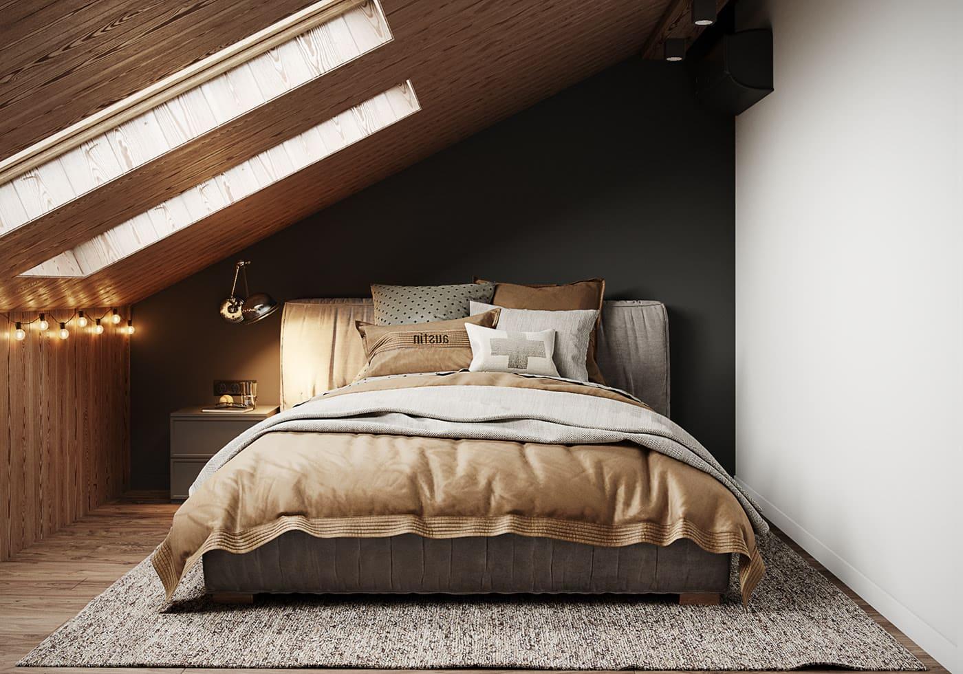 спальня на мансардном этаже фото 4