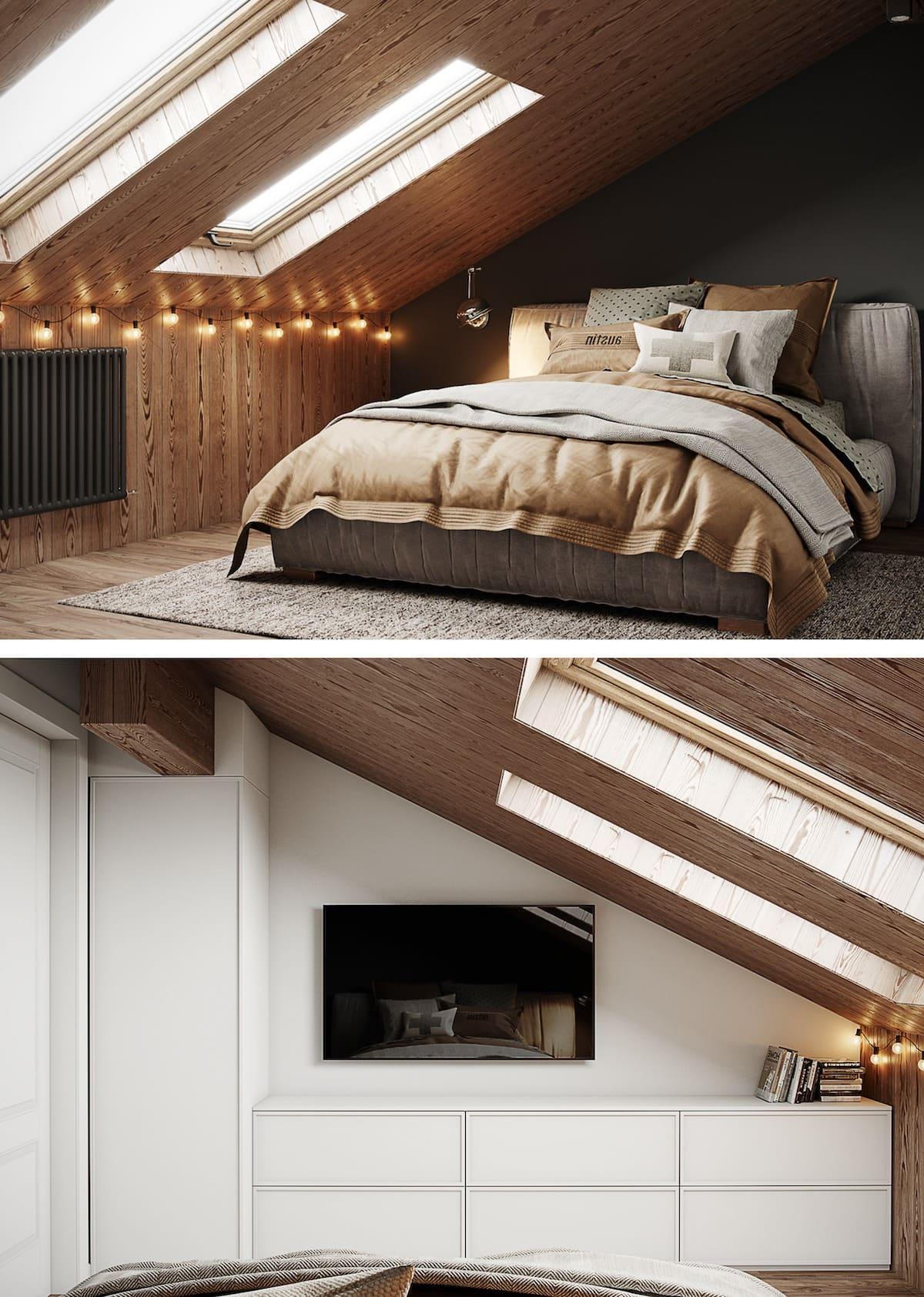 спальня на мансардном этаже фото 5