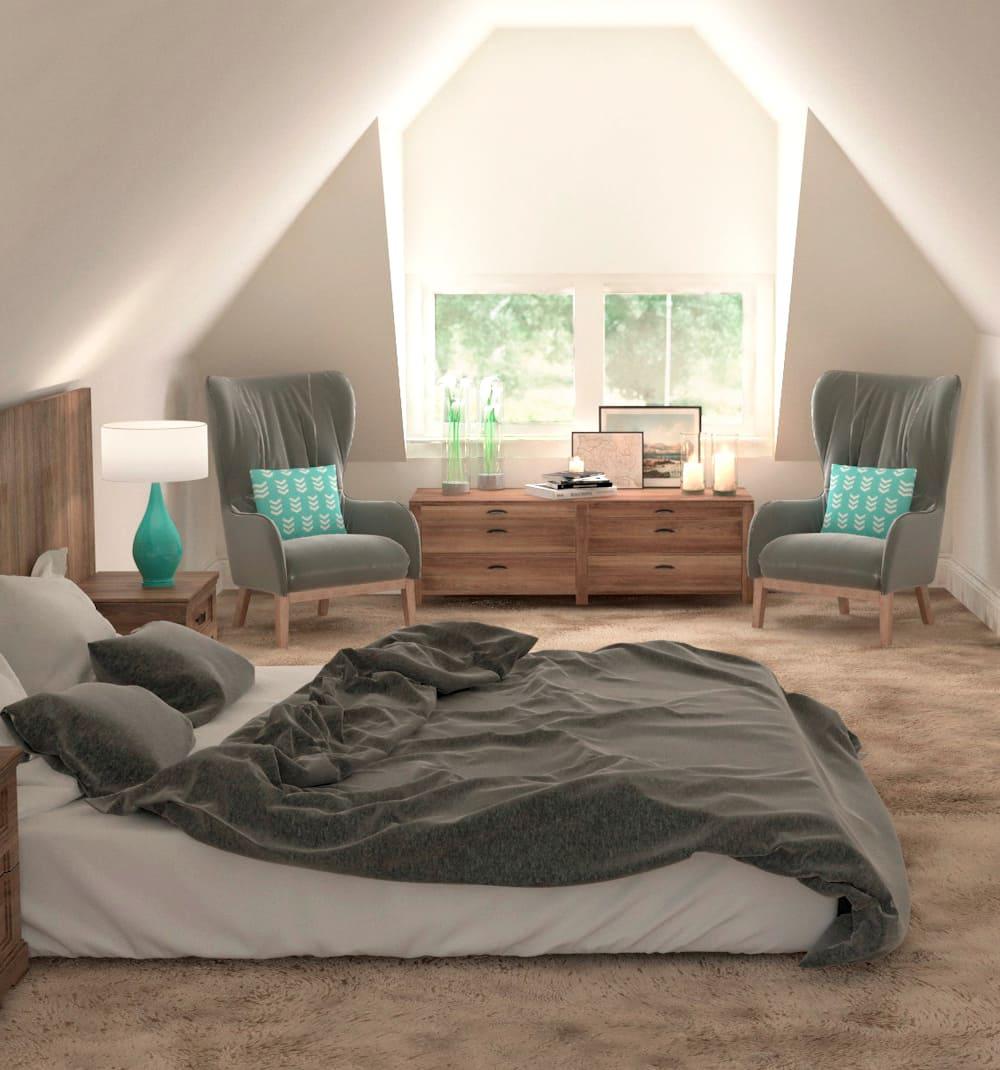 спальня на мансардном этаже фото 42