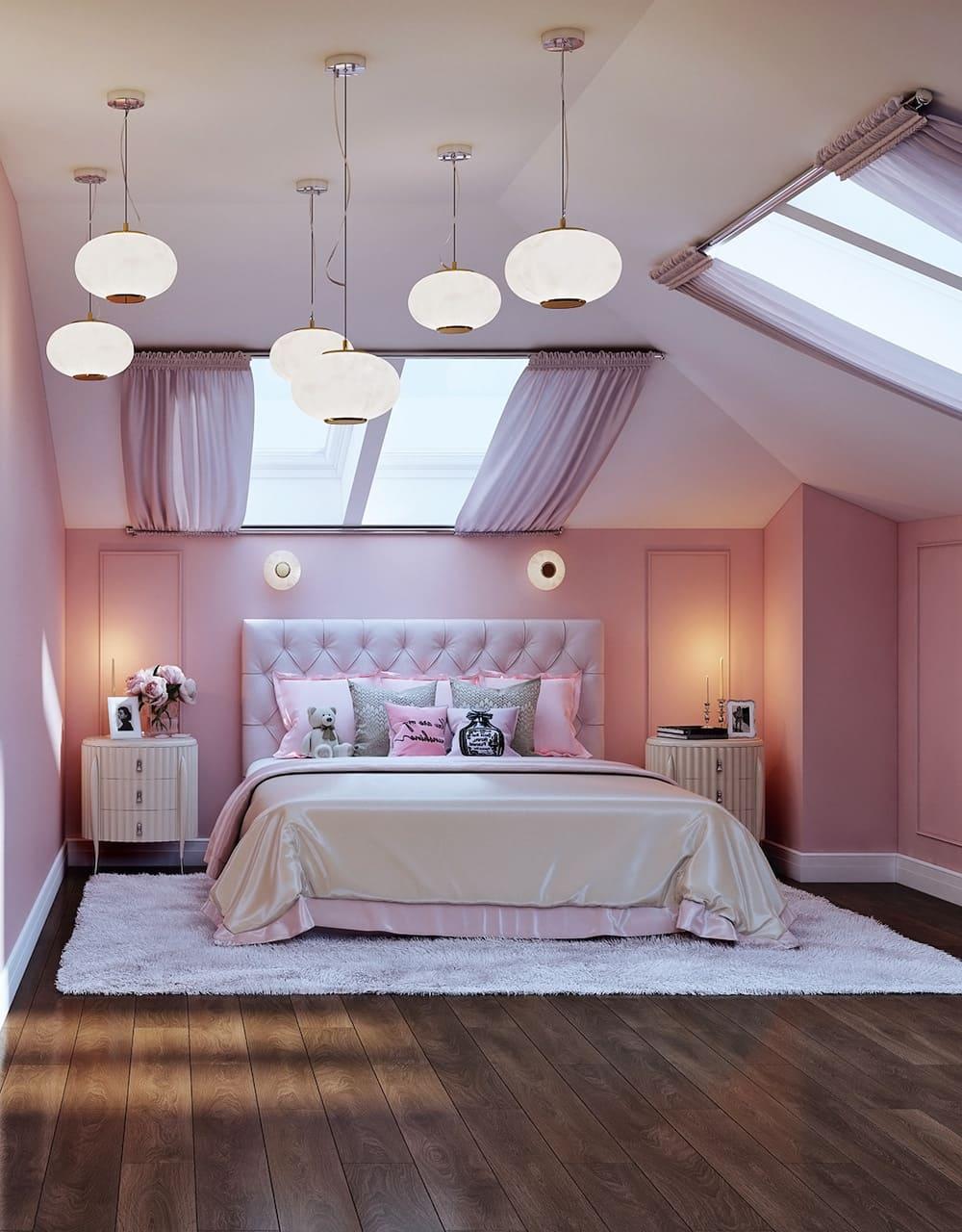 спальня на мансардном этаже фото 26
