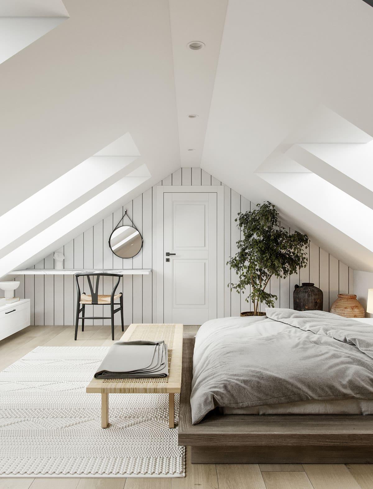 спальня на мансардном этаже фото 11