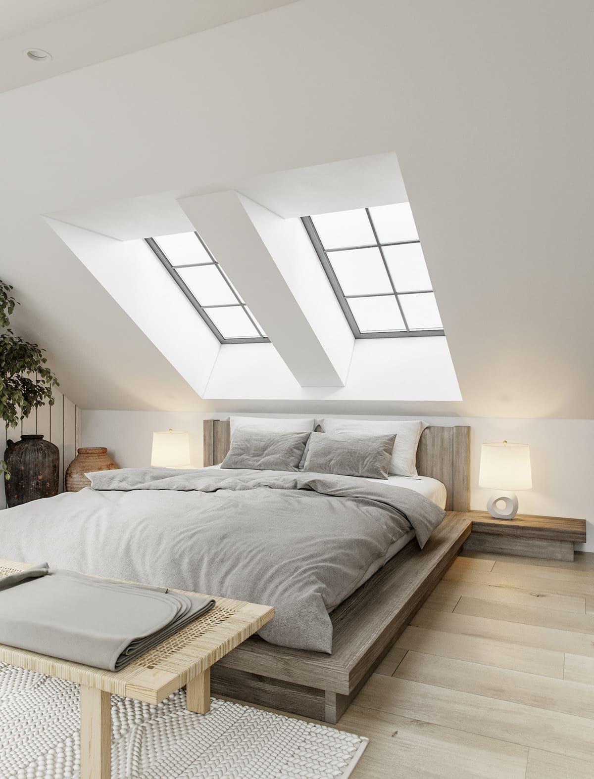 спальня на мансардном этаже фото 12