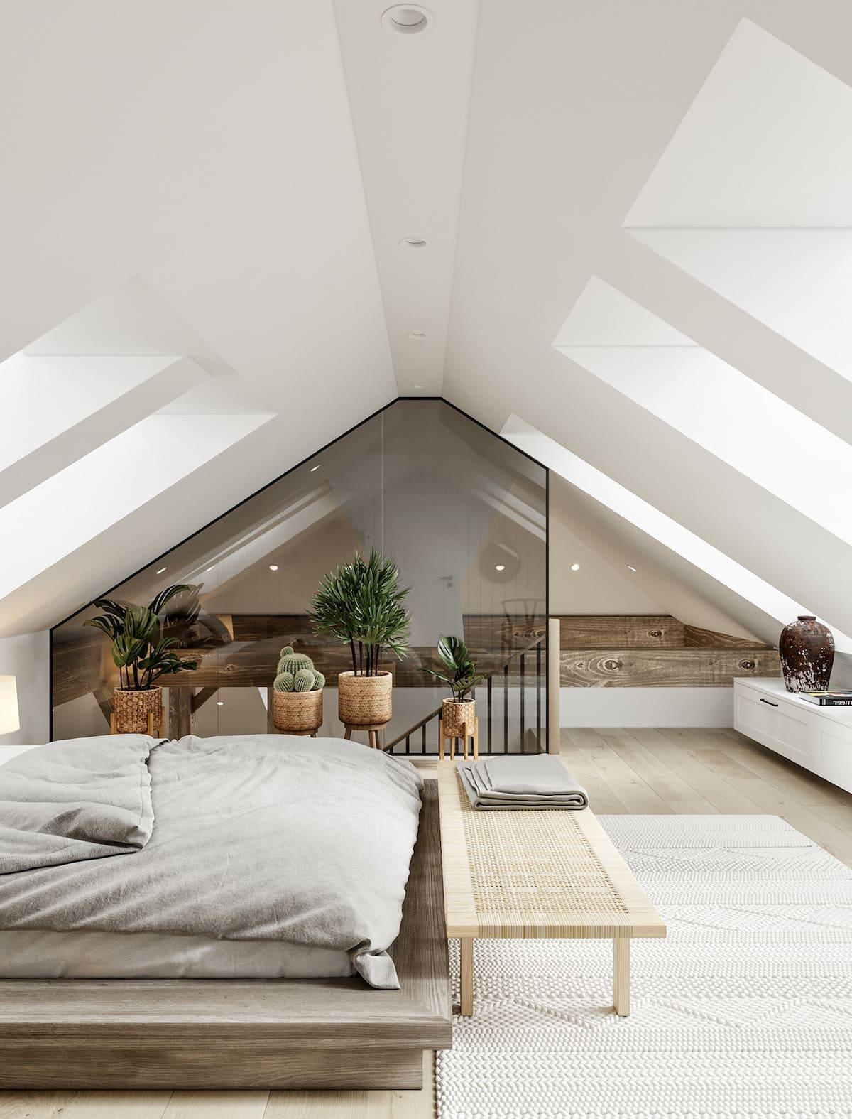 спальня на мансардном этаже фото 14