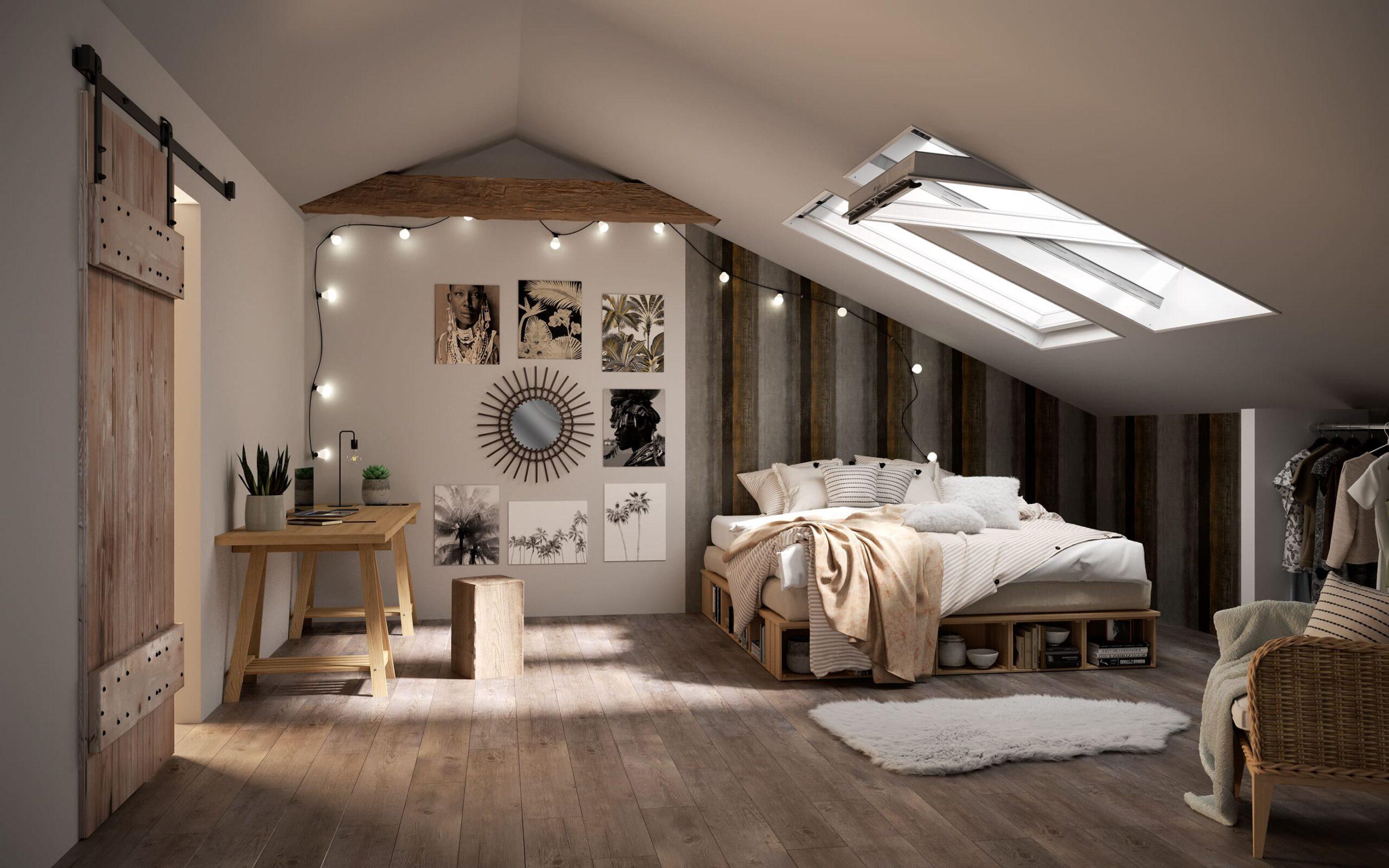 спальня на мансардном этаже фото 18