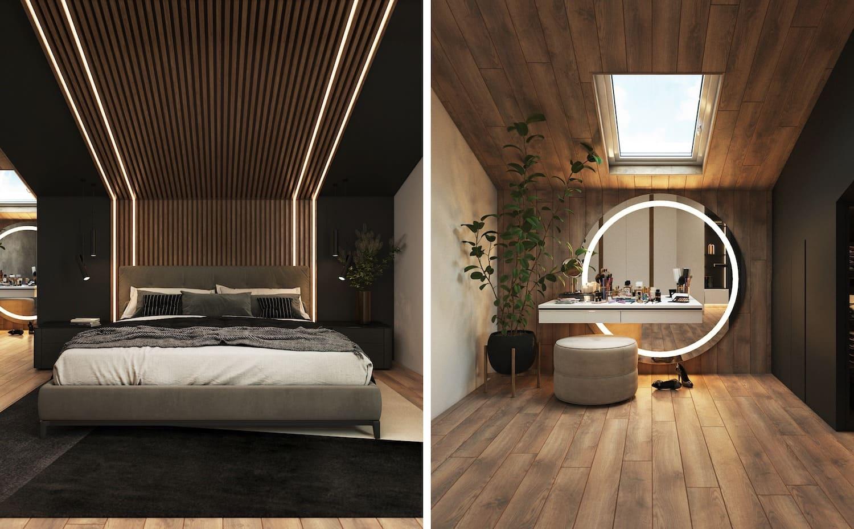 спальня на мансардном этаже фото 9