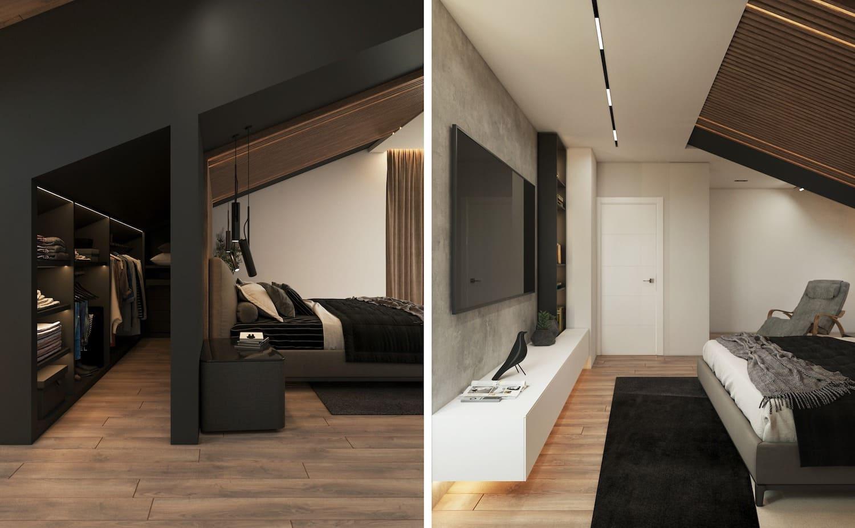 спальня на мансардном этаже фото 10