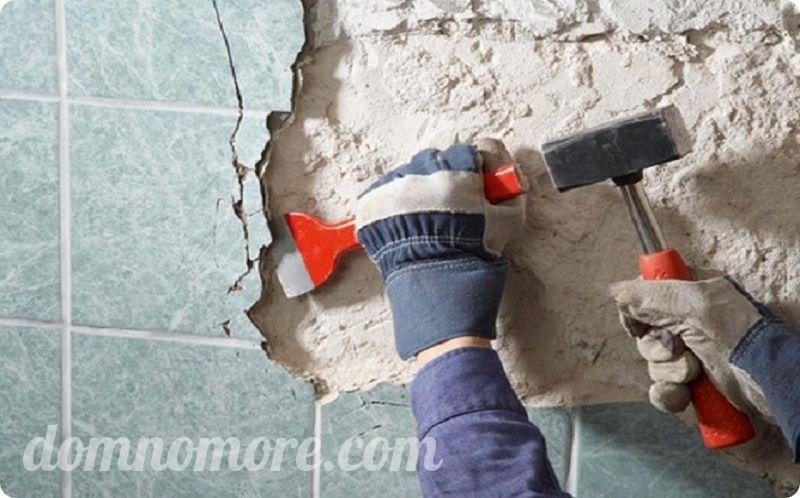 очистка стен под плитку