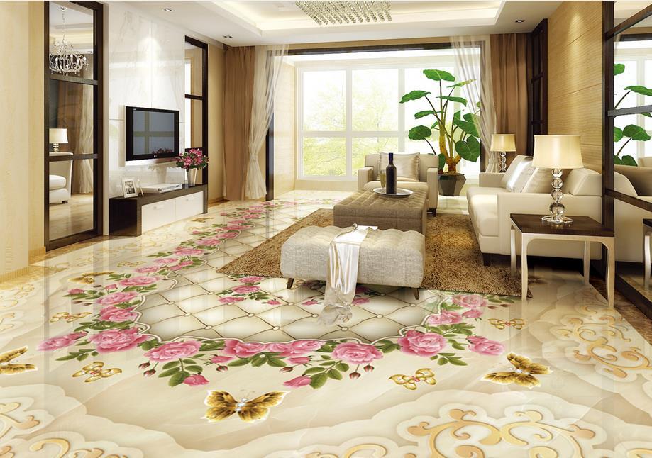 Декоративный 3D пол в гостиной