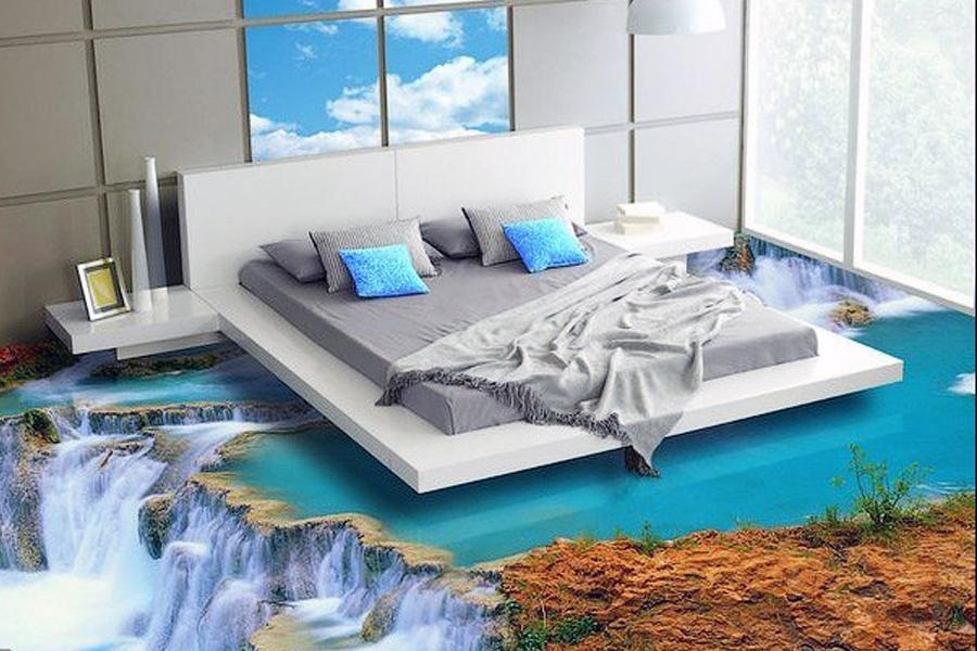 Декоративный 3D пол в спальне
