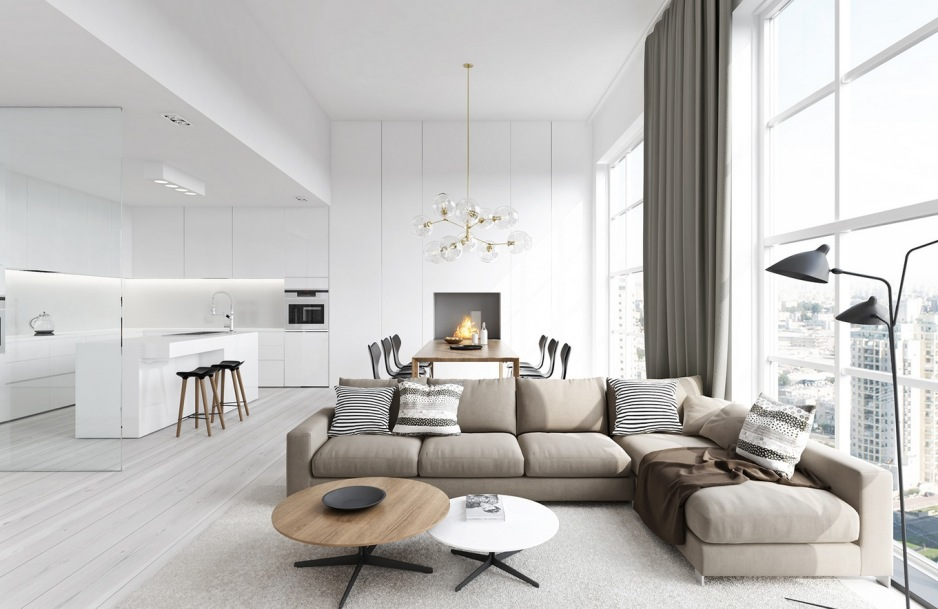 Белый стиль гостиной наполненный солнечным светом