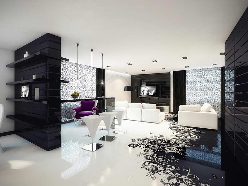 Черный и белый цвет гостиной