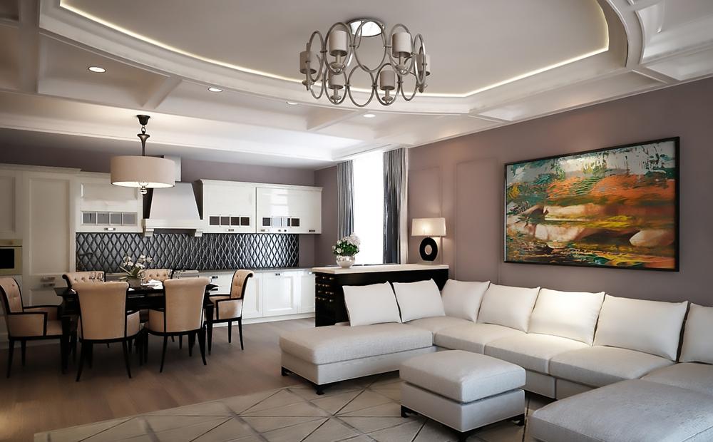 Модный и современный стиль гостиной