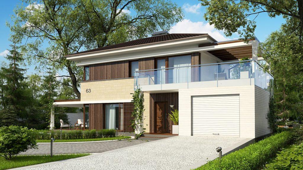 Дом с гаражом и открытой террасой