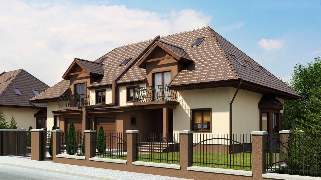 Двухэтажный дом с гаражом под ним
