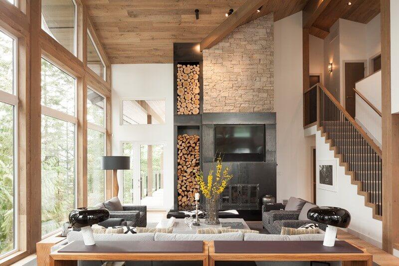 Эко стиль с деревянным потолком