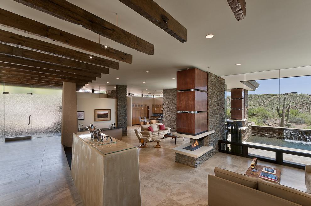 Имитация бруса на потолке в интерьере гостиной