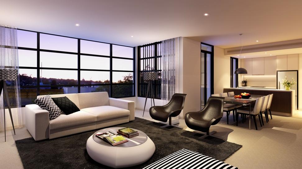 Окно в пол в современной гостиной