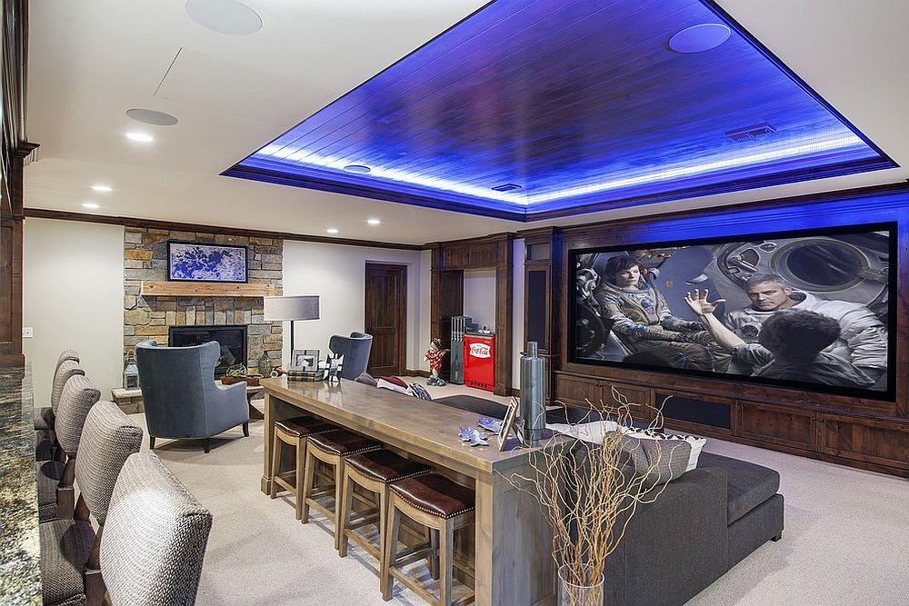 Оригинальный дизайн гостиной с домашним баром (от Stonewood)